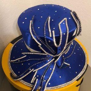 Royal Blue Embellished Church Hat